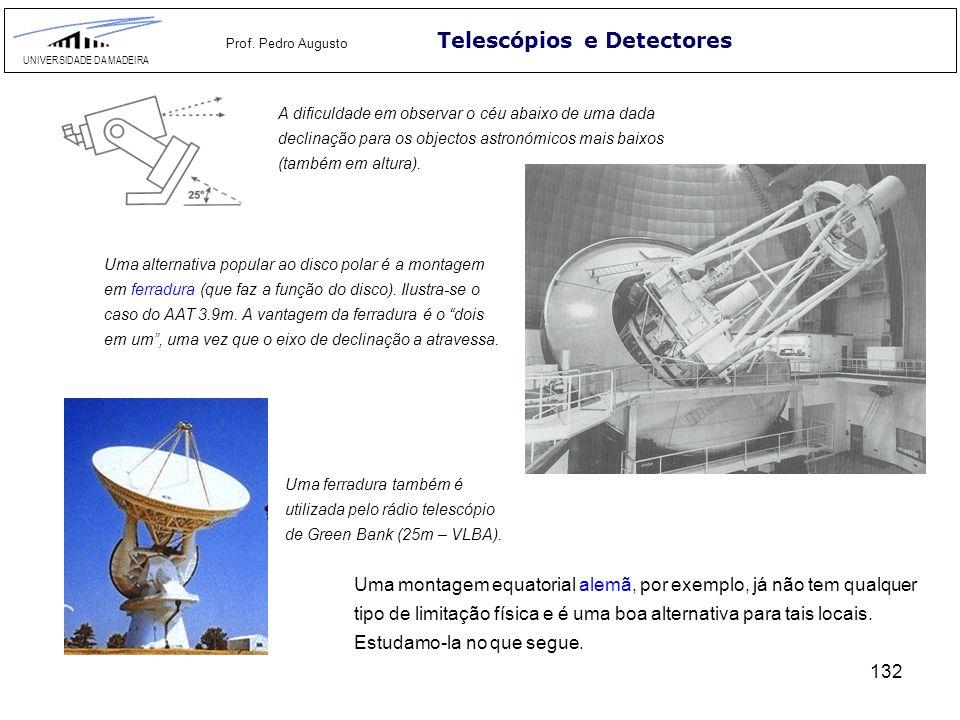 132 Telescópios e Detectores UNIVERSIDADE DA MADEIRA Prof. Pedro Augusto Uma montagem equatorial alemã, por exemplo, já não tem qualquer tipo de limit