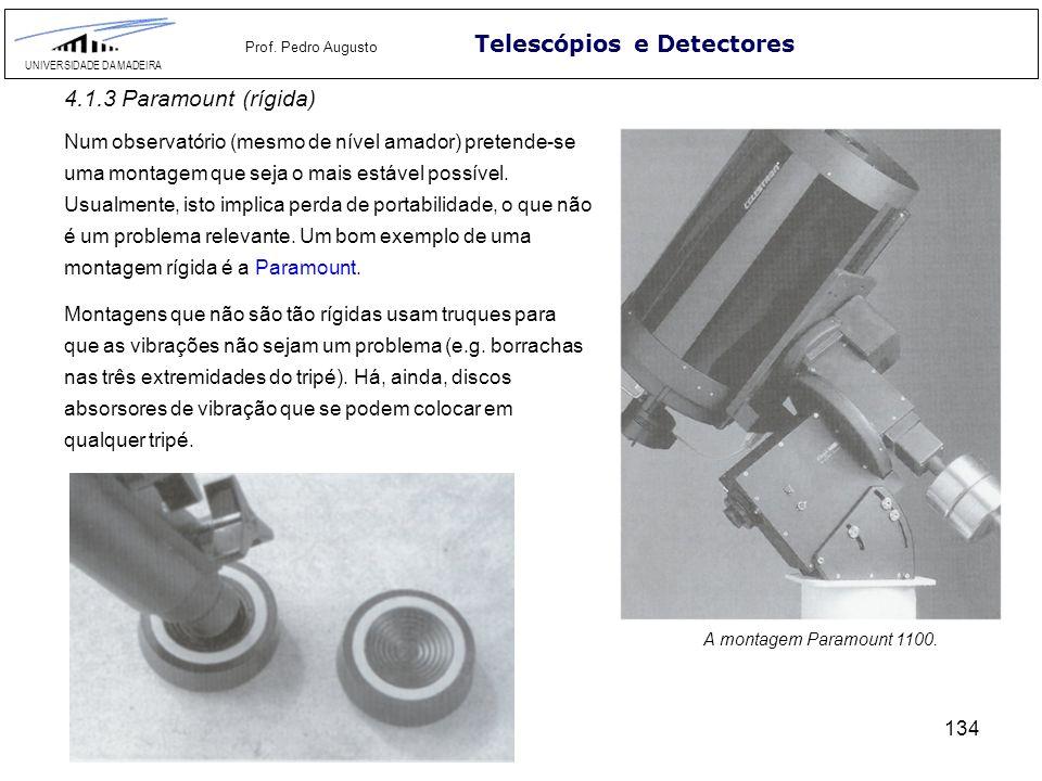 134 Telescópios e Detectores UNIVERSIDADE DA MADEIRA Prof. Pedro Augusto 4.1.3 Paramount (rígida) Num observatório (mesmo de nível amador) pretende-se