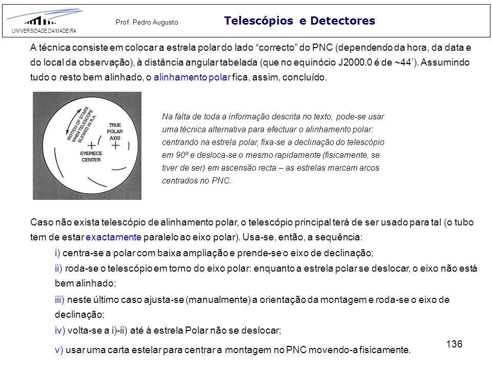136 Telescópios e Detectores UNIVERSIDADE DA MADEIRA Prof. Pedro Augusto A técnica consiste em colocar a estrela polar do lado correcto do PNC (depend