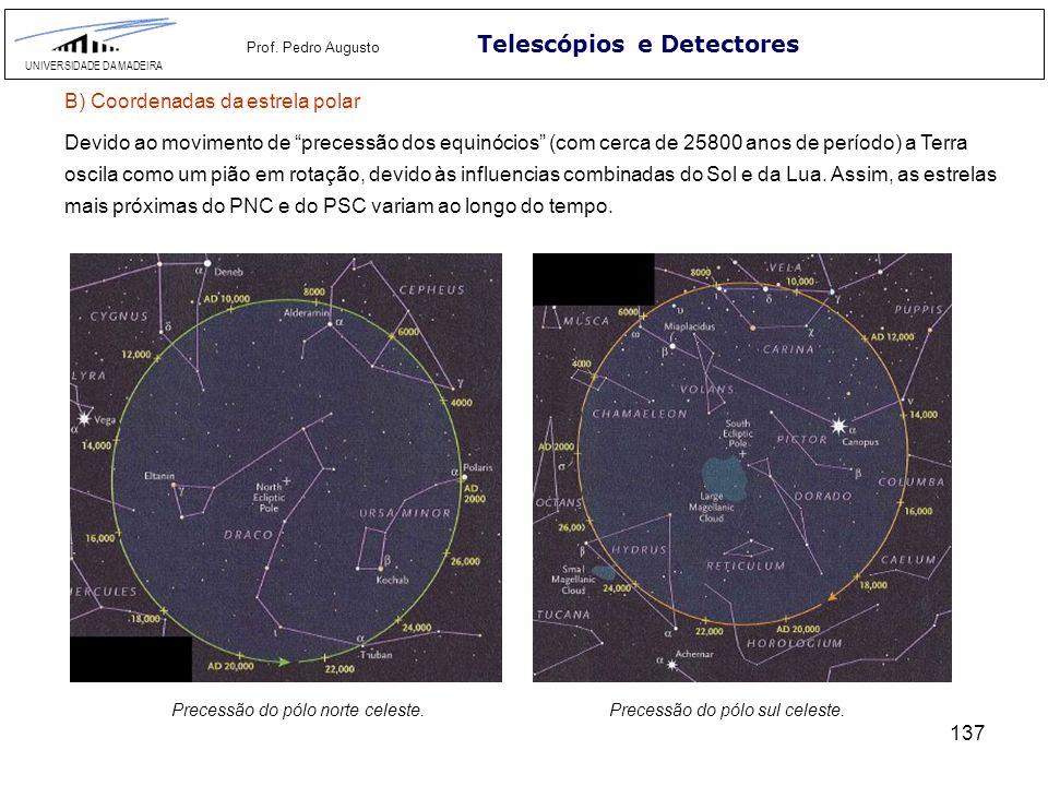 137 Telescópios e Detectores UNIVERSIDADE DA MADEIRA Prof. Pedro Augusto Devido ao movimento de precessão dos equinócios (com cerca de 25800 anos de p