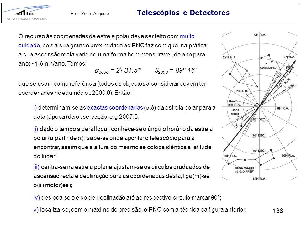 138 Telescópios e Detectores UNIVERSIDADE DA MADEIRA Prof. Pedro Augusto O recurso às coordenadas da estrela polar deve ser feito com muito cuidado, p