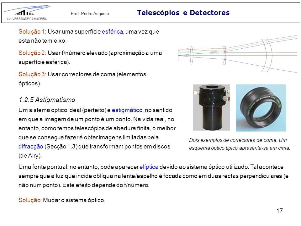 17 Telescópios e Detectores UNIVERSIDADE DA MADEIRA Prof. Pedro Augusto 1.2.5 Astigmatismo Solução 1: Usar uma superfície esférica, uma vez que esta n