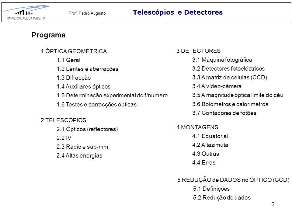 2 Telescópios e Detectores UNIVERSIDADE DA MADEIRA Prof. Pedro Augusto Programa 1 ÓPTICA GEOMÉTRICA 1.1 Geral 1.2 Lentes e aberrações 1.3 Difracção 1.