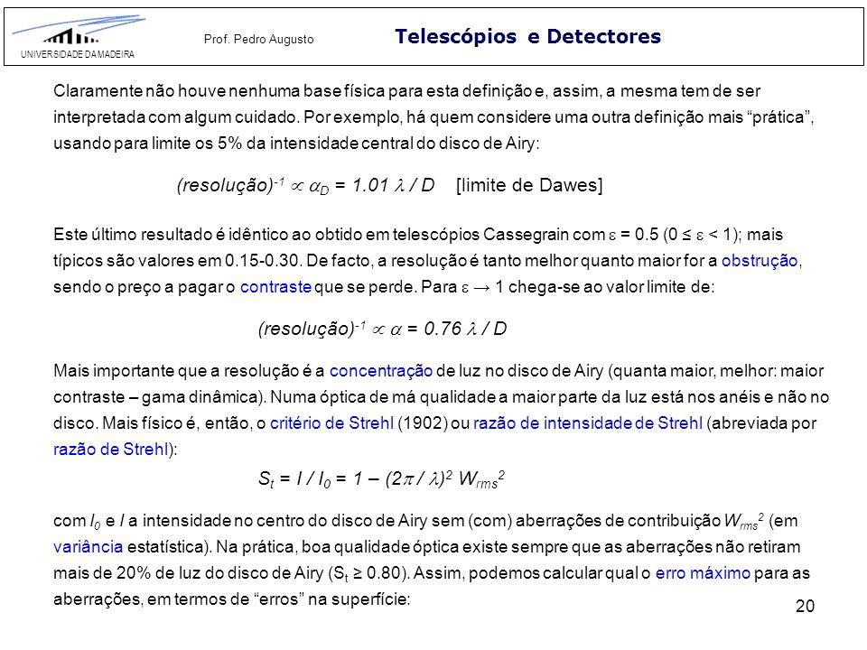 20 Telescópios e Detectores UNIVERSIDADE DA MADEIRA Prof. Pedro Augusto Claramente não houve nenhuma base física para esta definição e, assim, a mesma