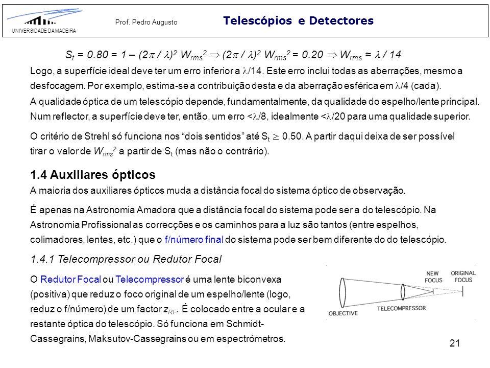 21 Telescópios e Detectores UNIVERSIDADE DA MADEIRA Prof. Pedro Augusto S t = 0.80 = 1 – (2 / ) 2 W rms 2 (2 / ) 2 W rms 2 = 0.20 W rms / 14 Logo, a s