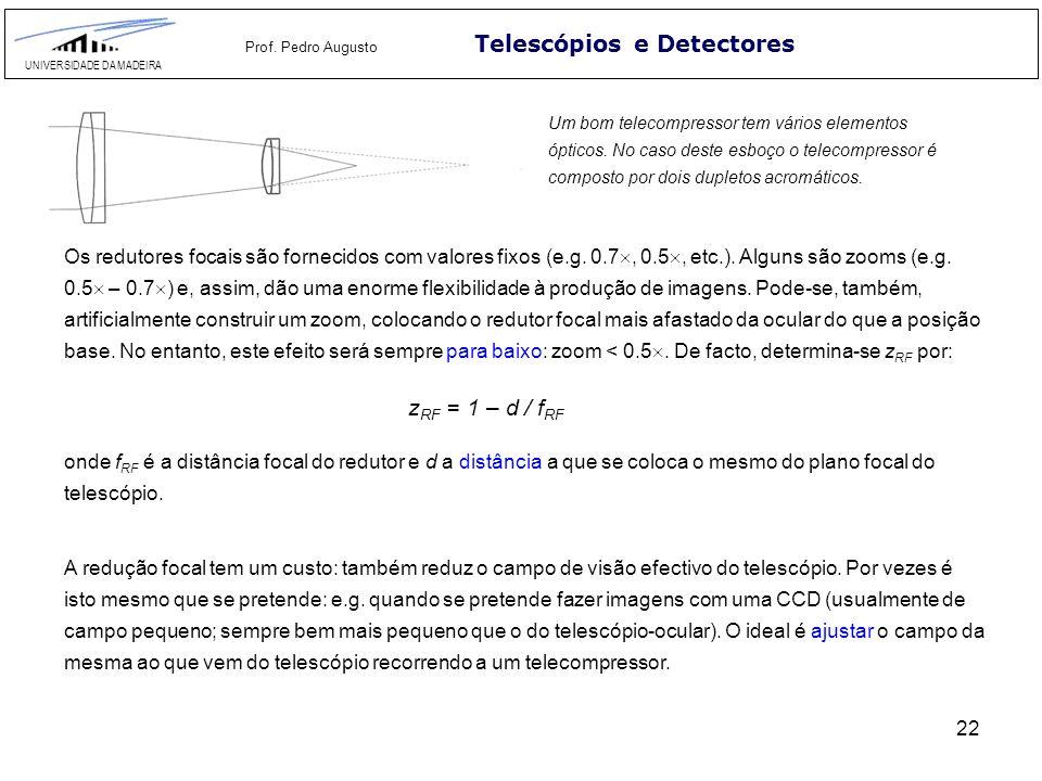 22 Telescópios e Detectores UNIVERSIDADE DA MADEIRA Prof. Pedro Augusto Um bom telecompressor tem vários elementos ópticos. No caso deste esboço o tel