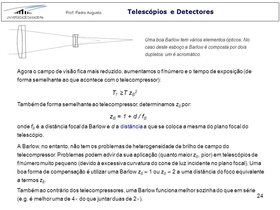 24 Telescópios e Detectores UNIVERSIDADE DA MADEIRA Prof. Pedro Augusto Uma boa Barlow tem vários elementos ópticos. No caso deste esboço a Barlow é c