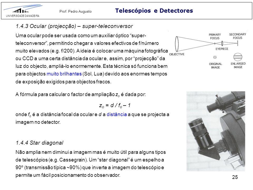 25 Telescópios e Detectores UNIVERSIDADE DA MADEIRA Prof. Pedro Augusto 1.4.3 Ocular (projecção) – super-teleconversor Uma ocular pode ser usada como