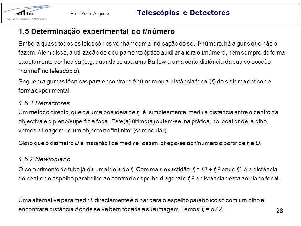 28 Telescópios e Detectores UNIVERSIDADE DA MADEIRA Prof. Pedro Augusto 1.5.1 Refractores Um método directo, que dá uma boa ideia de f l, é, simplesme