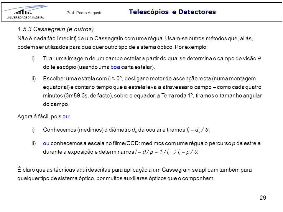 29 Telescópios e Detectores UNIVERSIDADE DA MADEIRA Prof. Pedro Augusto 1.5.3 Cassegrain (e outros) Não é nada fácil medir f l de um Cassegrain com um
