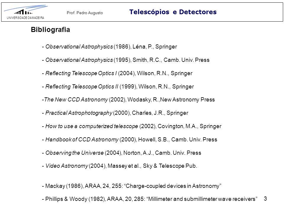 3 Telescópios e Detectores UNIVERSIDADE DA MADEIRA Prof. Pedro Augusto Bibliografia - Observational Astrophysics (1986), Léna, P., Springer - Observat