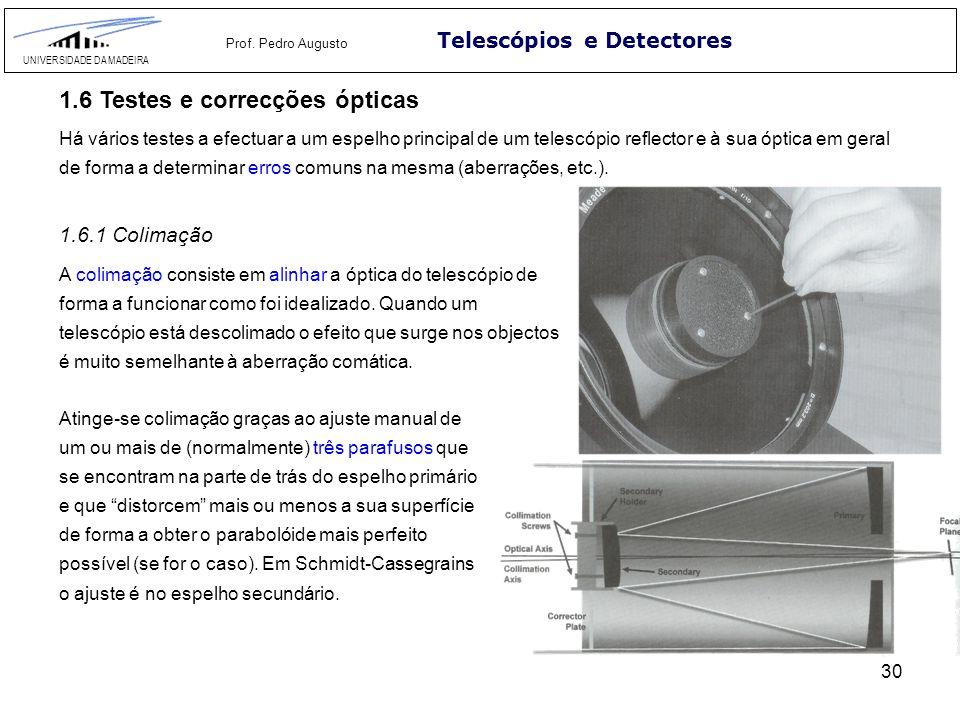 30 Telescópios e Detectores UNIVERSIDADE DA MADEIRA Prof. Pedro Augusto 1.6.1 Colimação A colimação consiste em alinhar a óptica do telescópio de form