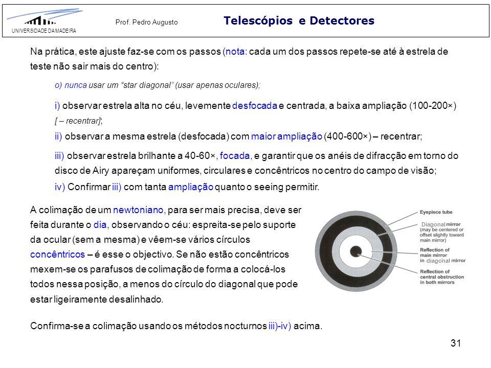 31 Telescópios e Detectores UNIVERSIDADE DA MADEIRA Prof. Pedro Augusto Na prática, este ajuste faz-se com os passos (nota: cada um dos passos repete-