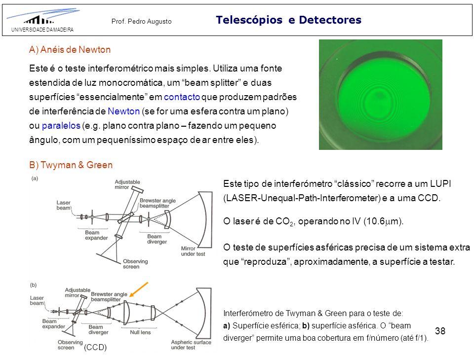 38 Telescópios e Detectores UNIVERSIDADE DA MADEIRA Prof. Pedro Augusto A) Anéis de Newton Este é o teste interferométrico mais simples. Utiliza uma f