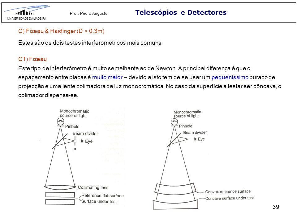 39 Telescópios e Detectores UNIVERSIDADE DA MADEIRA Prof. Pedro Augusto C) Fizeau & Haidinger (D < 0.3m) Estes são os dois testes interferométricos ma