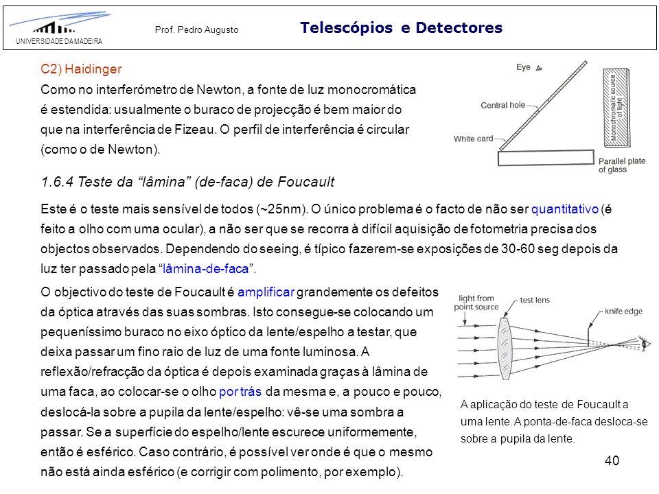 40 Telescópios e Detectores UNIVERSIDADE DA MADEIRA Prof. Pedro Augusto C2) Haidinger Como no interferómetro de Newton, a fonte de luz monocromática é