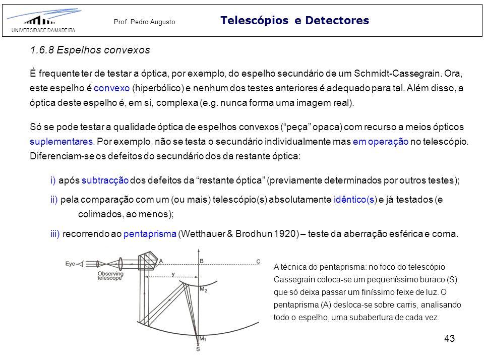 43 Telescópios e Detectores UNIVERSIDADE DA MADEIRA Prof. Pedro Augusto 1.6.8 Espelhos convexos É frequente ter de testar a óptica, por exemplo, do es