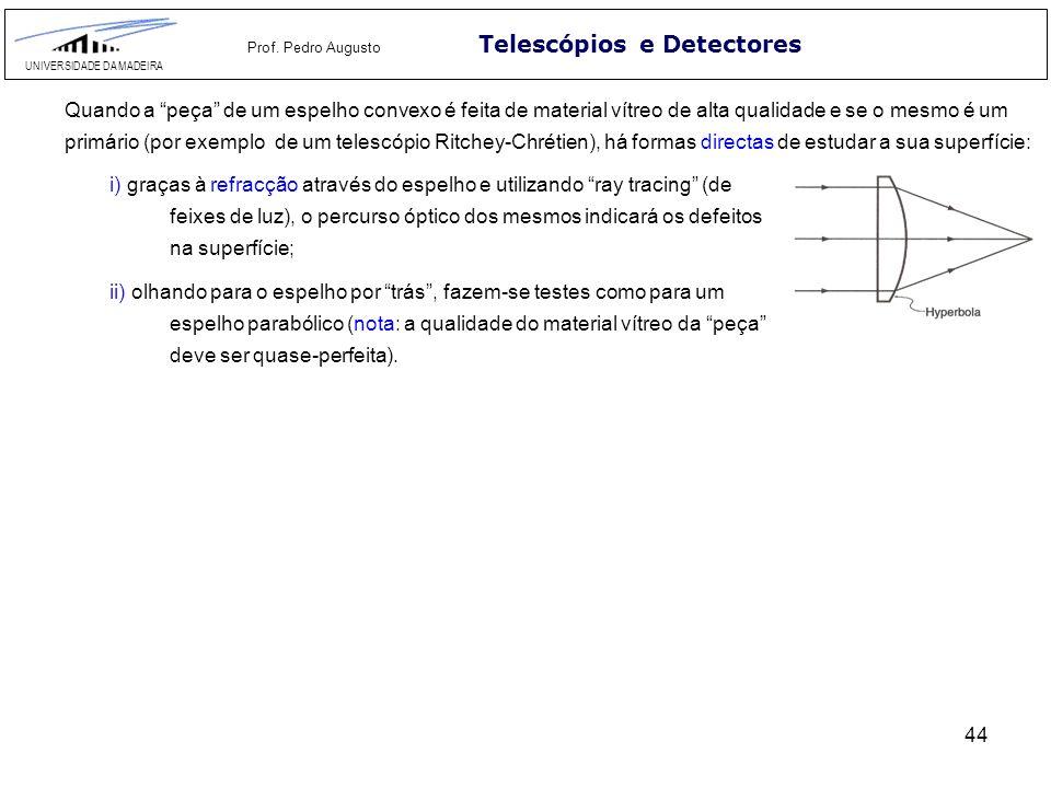 44 Telescópios e Detectores UNIVERSIDADE DA MADEIRA Prof. Pedro Augusto Quando a peça de um espelho convexo é feita de material vítreo de alta qualida