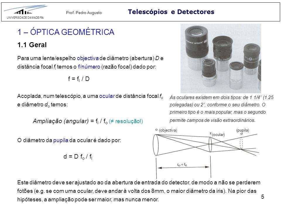 5 5 Telescópios e Detectores UNIVERSIDADE DA MADEIRA Prof. Pedro Augusto 1 – ÓPTICA GEOMÉTRICA 1.1 Geral Para uma lente/espelho objectiva de diâmetro