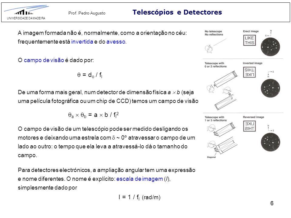 6 Telescópios e Detectores UNIVERSIDADE DA MADEIRA Prof. Pedro Augusto O campo de visão é dado por: = d o / f l De uma forma mais geral, num detector