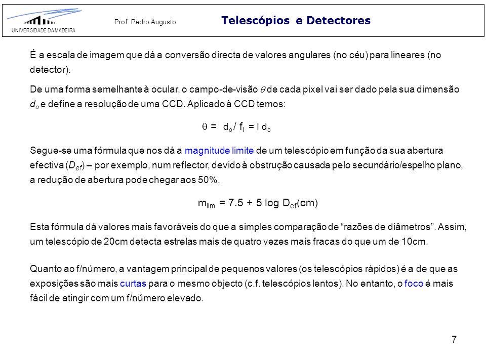 7 Telescópios e Detectores UNIVERSIDADE DA MADEIRA Prof. Pedro Augusto É a escala de imagem que dá a conversão directa de valores angulares (no céu) p
