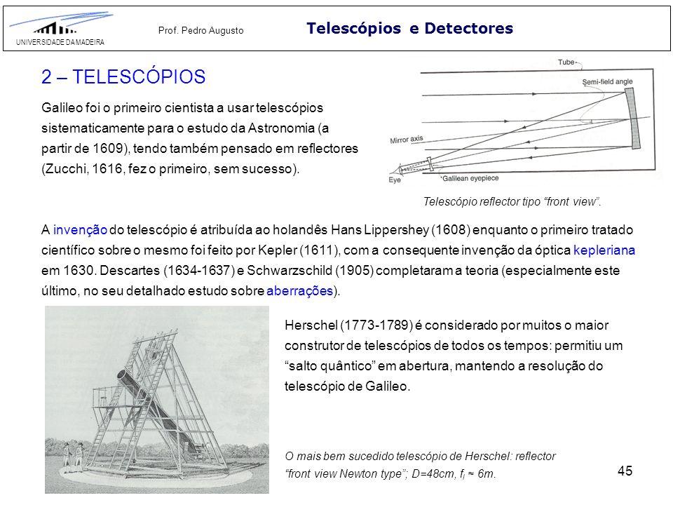 45 Telescópios e Detectores UNIVERSIDADE DA MADEIRA Prof. Pedro Augusto 2 – TELESCÓPIOS Galileo foi o primeiro cientista a usar telescópios sistematic