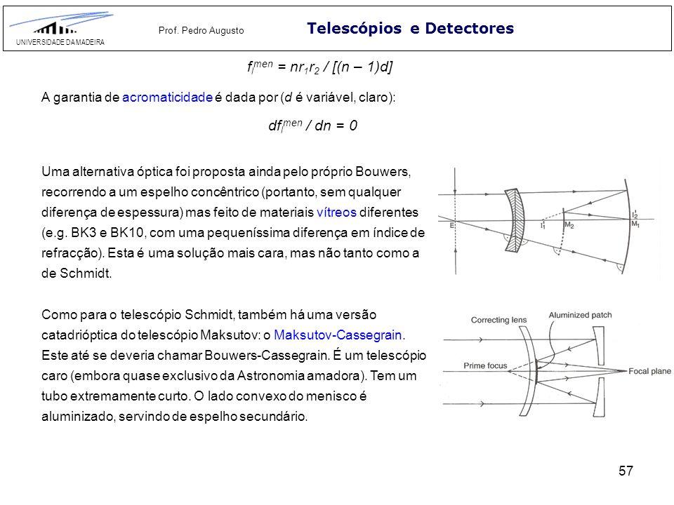 57 Telescópios e Detectores UNIVERSIDADE DA MADEIRA Prof. Pedro Augusto Como para o telescópio Schmidt, também há uma versão catadrióptica do telescóp