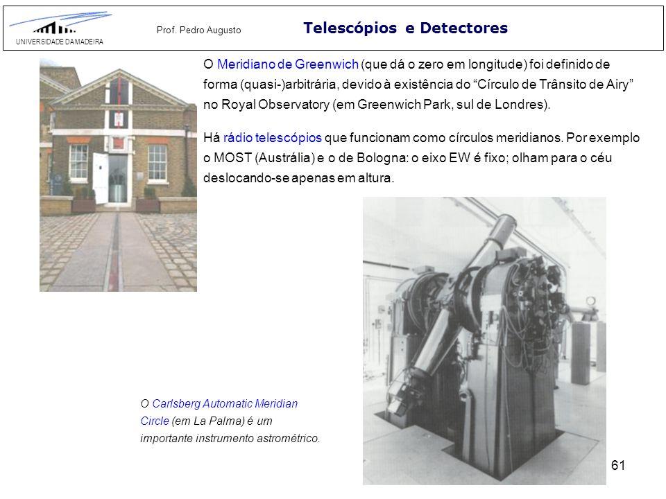 61 Telescópios e Detectores UNIVERSIDADE DA MADEIRA Prof. Pedro Augusto O Meridiano de Greenwich (que dá o zero em longitude) foi definido de forma (q