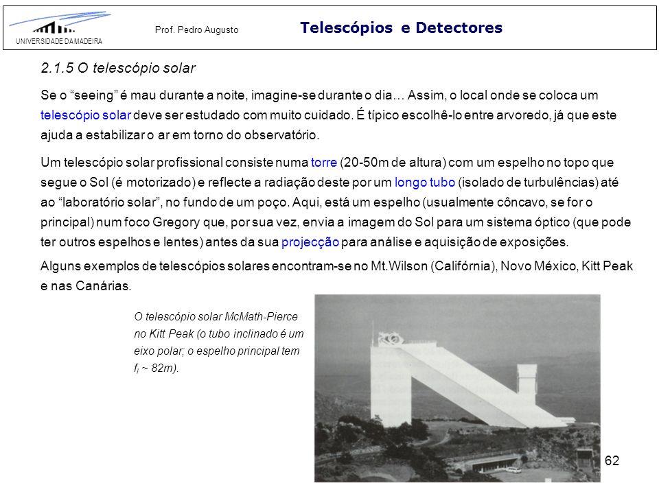 62 Telescópios e Detectores UNIVERSIDADE DA MADEIRA Prof. Pedro Augusto 2.1.5 O telescópio solar Se o seeing é mau durante a noite, imagine-se durante