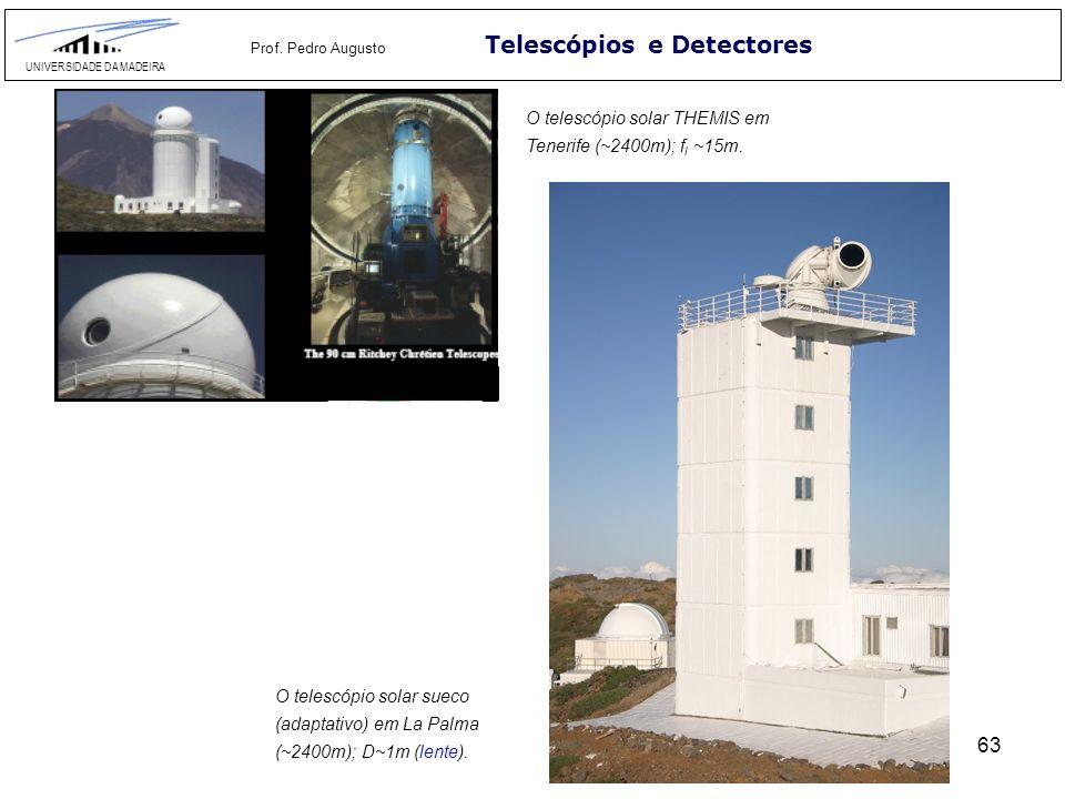 63 Telescópios e Detectores UNIVERSIDADE DA MADEIRA Prof. Pedro Augusto O telescópio solar THEMIS em Tenerife (~2400m); f l ~15m. O telescópio solar s