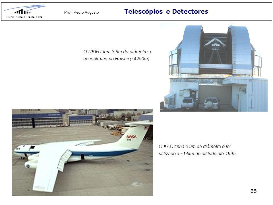 65 Telescópios e Detectores UNIVERSIDADE DA MADEIRA Prof. Pedro Augusto O UKIRT tem 3.8m de diâmetro e encontra-se no Hawaii (~4200m). O KAO tinha 0.9