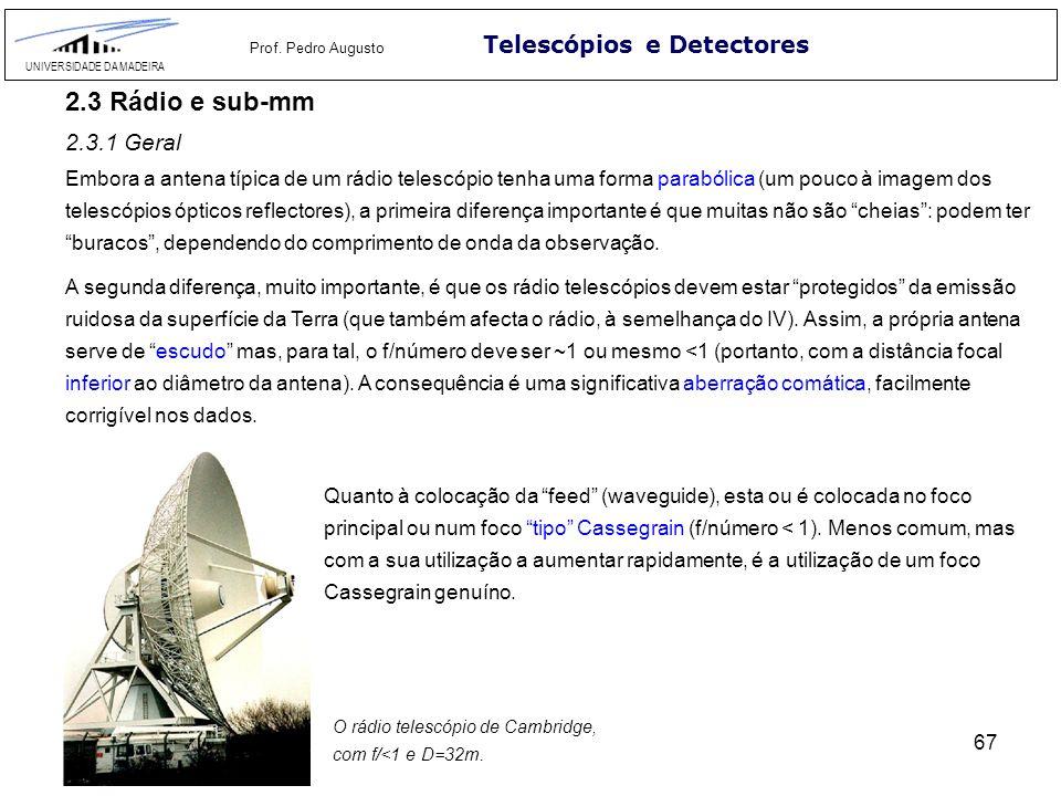 67 Telescópios e Detectores UNIVERSIDADE DA MADEIRA Prof. Pedro Augusto 2.3 Rádio e sub-mm 2.3.1 Geral Embora a antena típica de um rádio telescópio t