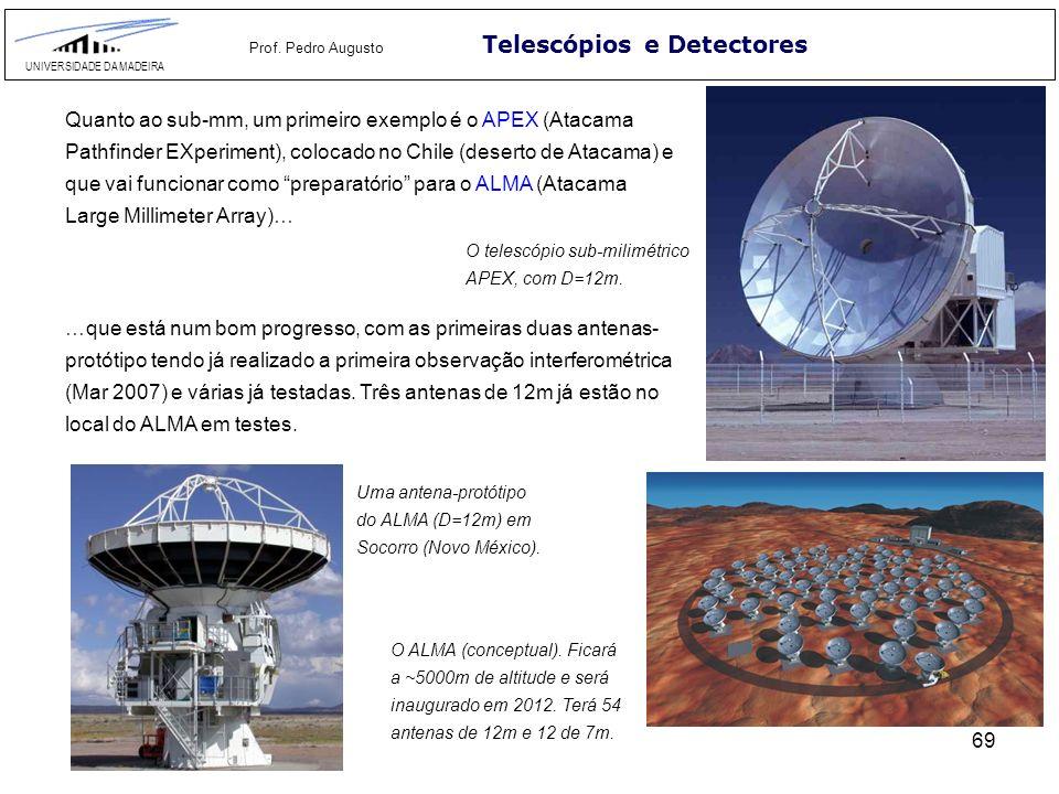 69 Telescópios e Detectores UNIVERSIDADE DA MADEIRA Prof. Pedro Augusto Quanto ao sub-mm, um primeiro exemplo é o APEX (Atacama Pathfinder EXperiment)