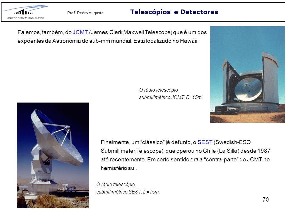 70 Telescópios e Detectores UNIVERSIDADE DA MADEIRA Prof. Pedro Augusto Finalmente, um clássico já defunto, o SEST (Swedish-ESO Submillimeter Telescop