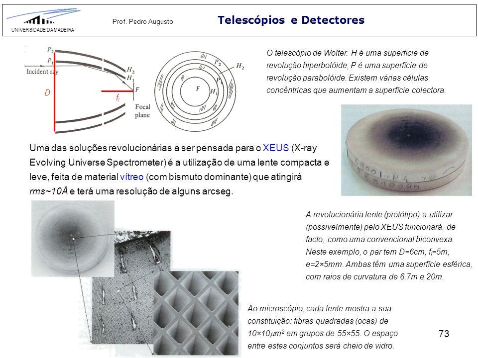73 Telescópios e Detectores UNIVERSIDADE DA MADEIRA Prof. Pedro Augusto O telescópio de Wolter. H é uma superfície de revolução hiperbolóide; P é uma
