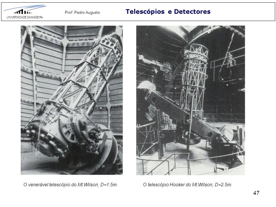 47 Telescópios e Detectores UNIVERSIDADE DA MADEIRA Prof. Pedro Augusto O venerável telescópio do Mt.Wilson; D=1.5m.O telescópio Hooker do Mt.Wilson;