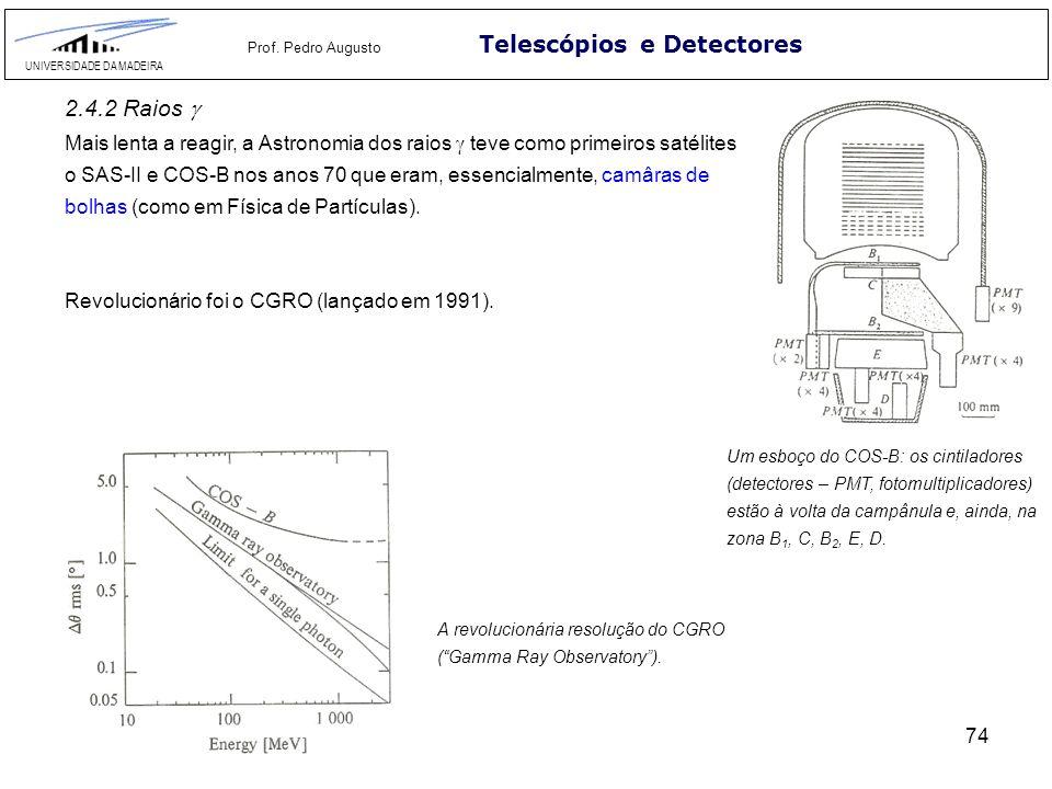 74 Telescópios e Detectores UNIVERSIDADE DA MADEIRA Prof. Pedro Augusto 2.4.2 Raios Mais lenta a reagir, a Astronomia dos raios teve como primeiros sa
