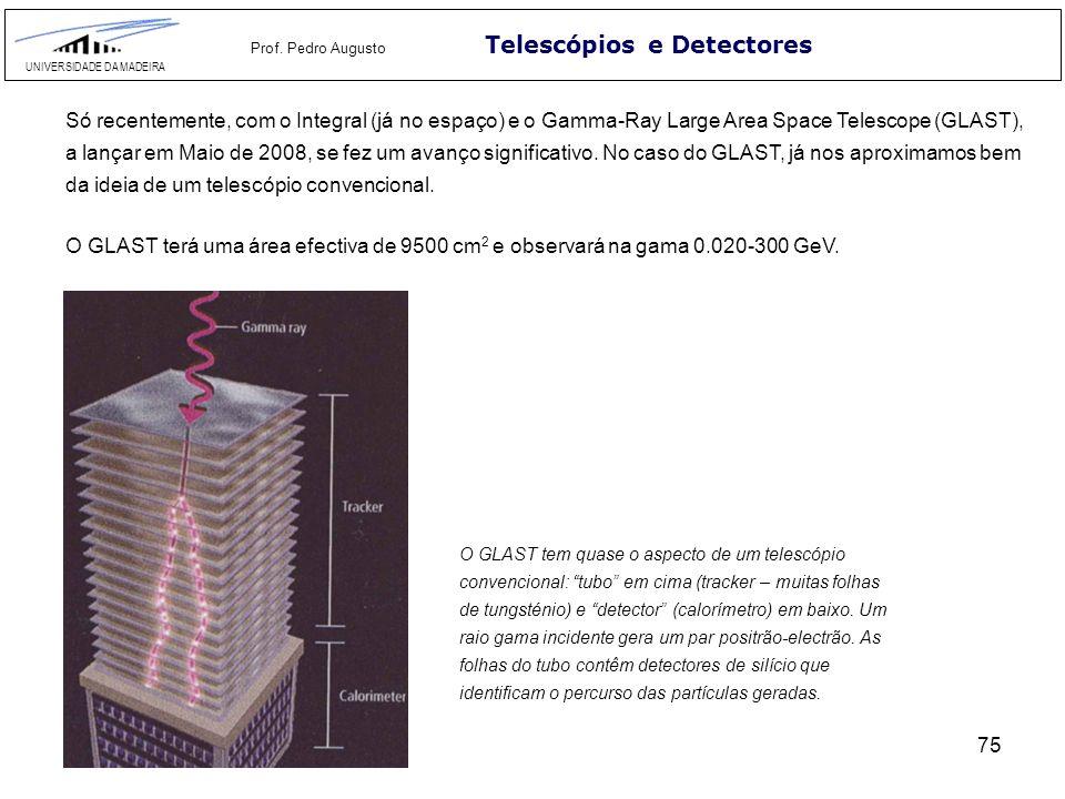 75 Telescópios e Detectores UNIVERSIDADE DA MADEIRA Prof. Pedro Augusto Só recentemente, com o Integral (já no espaço) e o Gamma-Ray Large Area Space