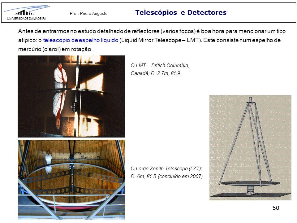 50 Telescópios e Detectores UNIVERSIDADE DA MADEIRA Prof. Pedro Augusto Antes de entrarmos no estudo detalhado de reflectores (vários focos) é boa hor