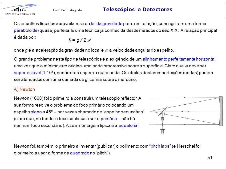 51 Telescópios e Detectores UNIVERSIDADE DA MADEIRA Prof. Pedro Augusto Os espelhos líquidos aproveitam-se da lei da gravidade para, em rotação, conse