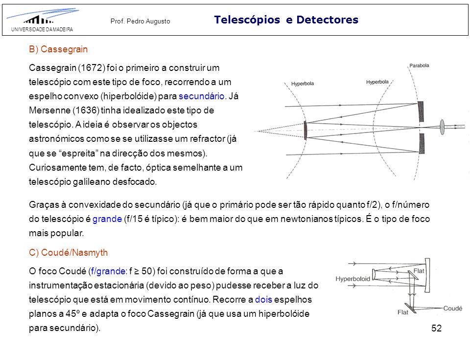 52 Telescópios e Detectores UNIVERSIDADE DA MADEIRA Prof. Pedro Augusto C) Coudé/Nasmyth O foco Coudé (f/grande: f 50) foi construído de forma a que a