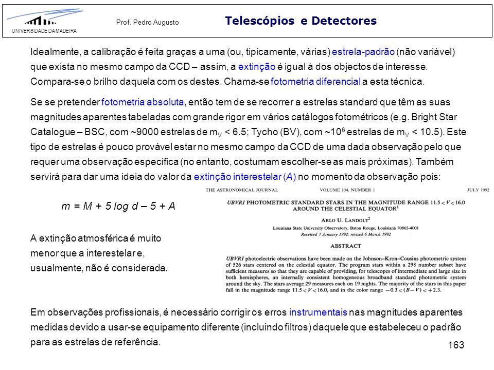 163 Telescópios e Detectores UNIVERSIDADE DA MADEIRA Prof. Pedro Augusto Idealmente, a calibração é feita graças a uma (ou, tipicamente, várias) estre