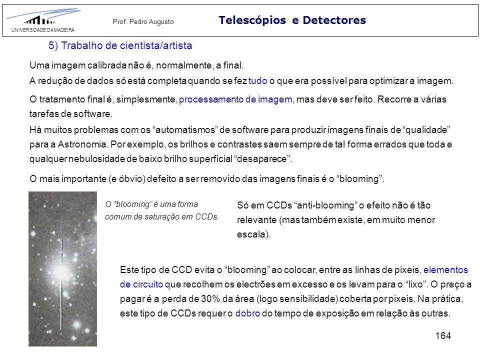 164 Telescópios e Detectores UNIVERSIDADE DA MADEIRA Prof. Pedro Augusto 5) Trabalho de cientista/artista Uma imagem calibrada não é, normalmente, a f