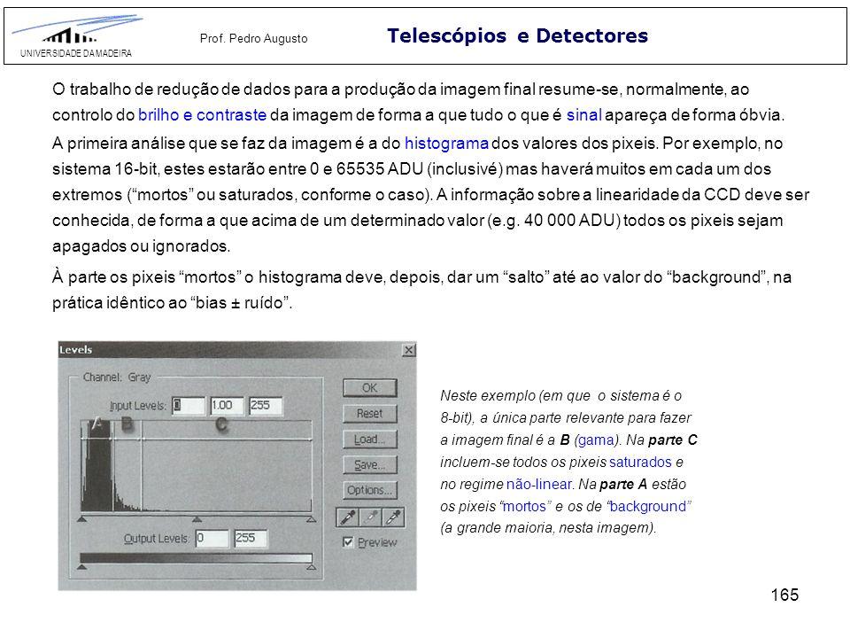 165 Telescópios e Detectores UNIVERSIDADE DA MADEIRA Prof. Pedro Augusto O trabalho de redução de dados para a produção da imagem final resume-se, nor