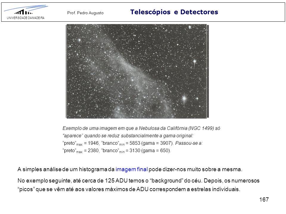167 Telescópios e Detectores UNIVERSIDADE DA MADEIRA Prof. Pedro Augusto Exemplo de uma imagem em que a Nebulosa da Califórnia (NGC 1499) só aparece q