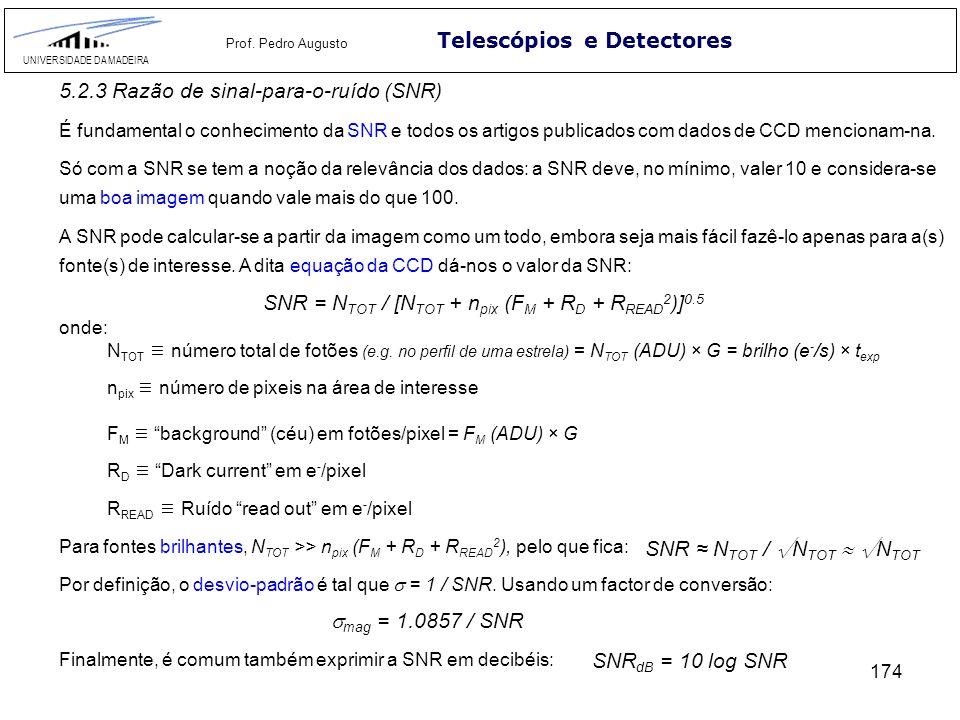 174 Telescópios e Detectores UNIVERSIDADE DA MADEIRA Prof. Pedro Augusto 5.2.3 Razão de sinal-para-o-ruído (SNR) É fundamental o conhecimento da SNR e