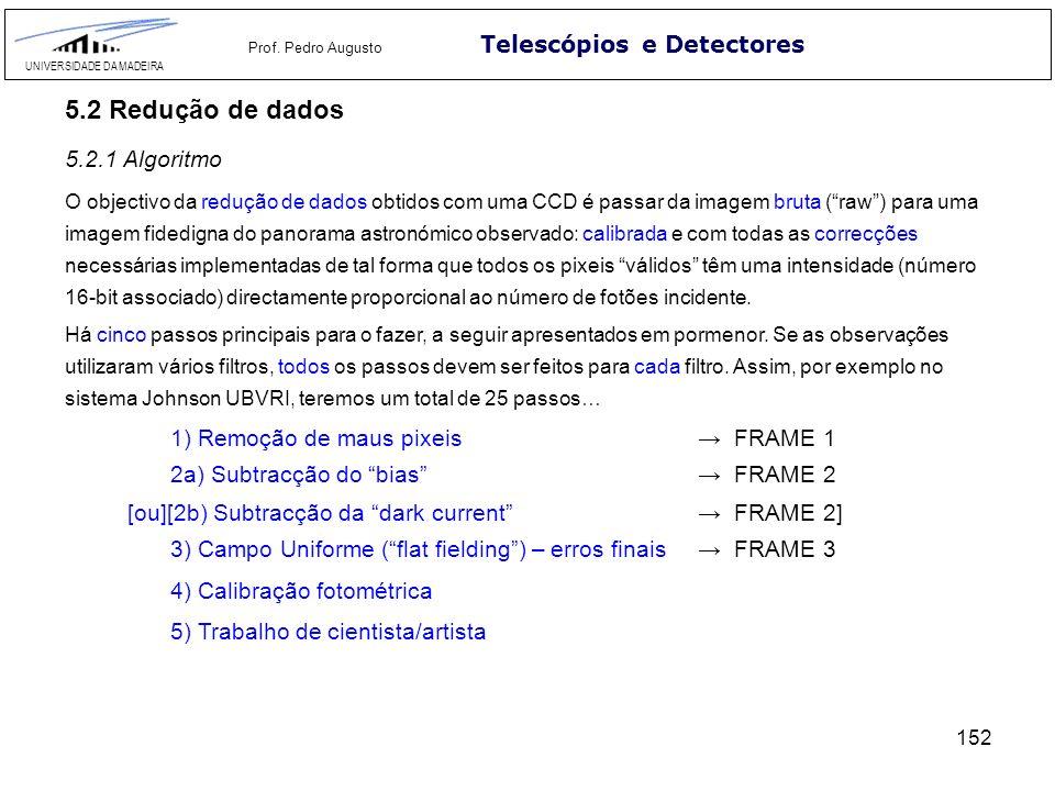 152 Telescópios e Detectores UNIVERSIDADE DA MADEIRA Prof. Pedro Augusto 5.2 Redução de dados O objectivo da redução de dados obtidos com uma CCD é pa