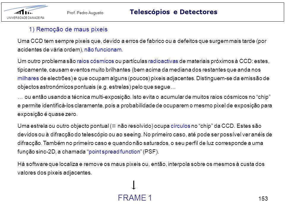 153 Telescópios e Detectores UNIVERSIDADE DA MADEIRA Prof. Pedro Augusto 1) Remoção de maus pixeis Uma CCD tem sempre pixeis que, devido a erros de fa