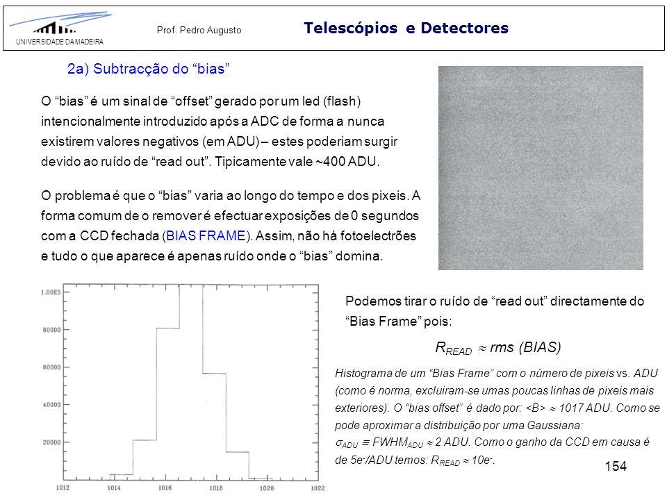 154 Telescópios e Detectores UNIVERSIDADE DA MADEIRA Prof. Pedro Augusto 2a) Subtracção do bias O bias é um sinal de offset gerado por um led (flash)