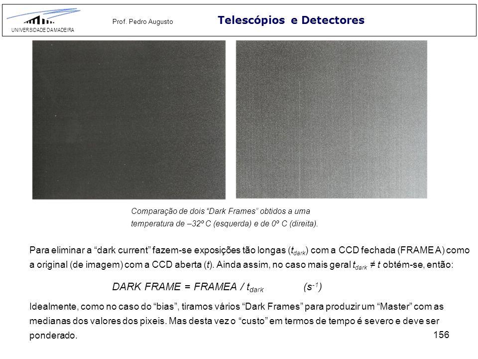 156 Telescópios e Detectores UNIVERSIDADE DA MADEIRA Prof. Pedro Augusto Para eliminar a dark current fazem-se exposições tão longas (t dark ) com a C